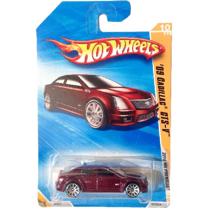 Coleção 2010 Hot Wheels 09 Cadillac CTS-V series 10/52 010/214 R0925 escala 1/64