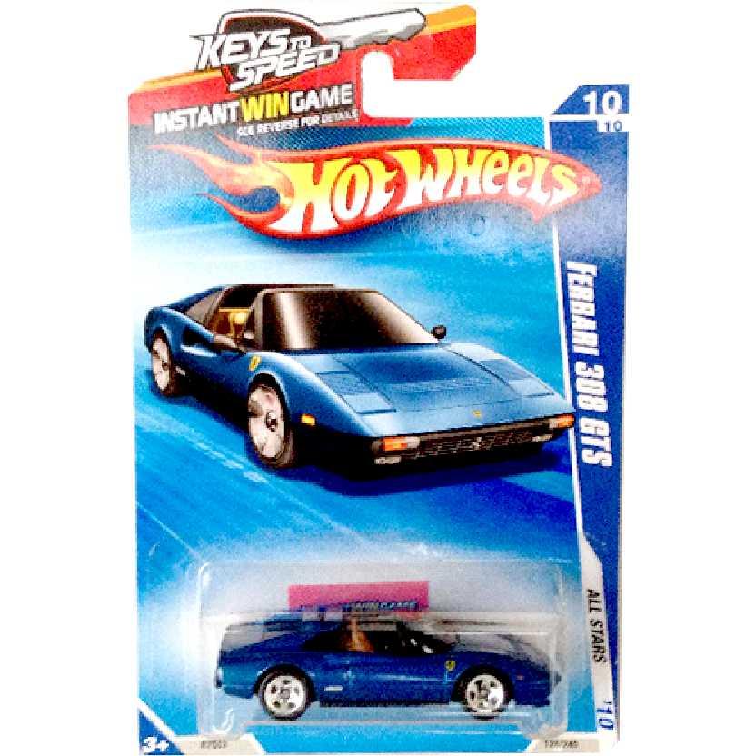 Coleção 2010 Hot Wheels Ferrari 308 GTS azul series 10/10 128/240 escala 1/64 RARIDADE