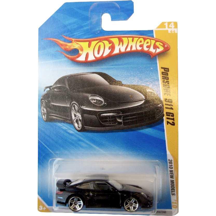 Coleção 2010 Hot Wheels Porsche 911 GT2 preto series 15/52 015/214 escala 1/64