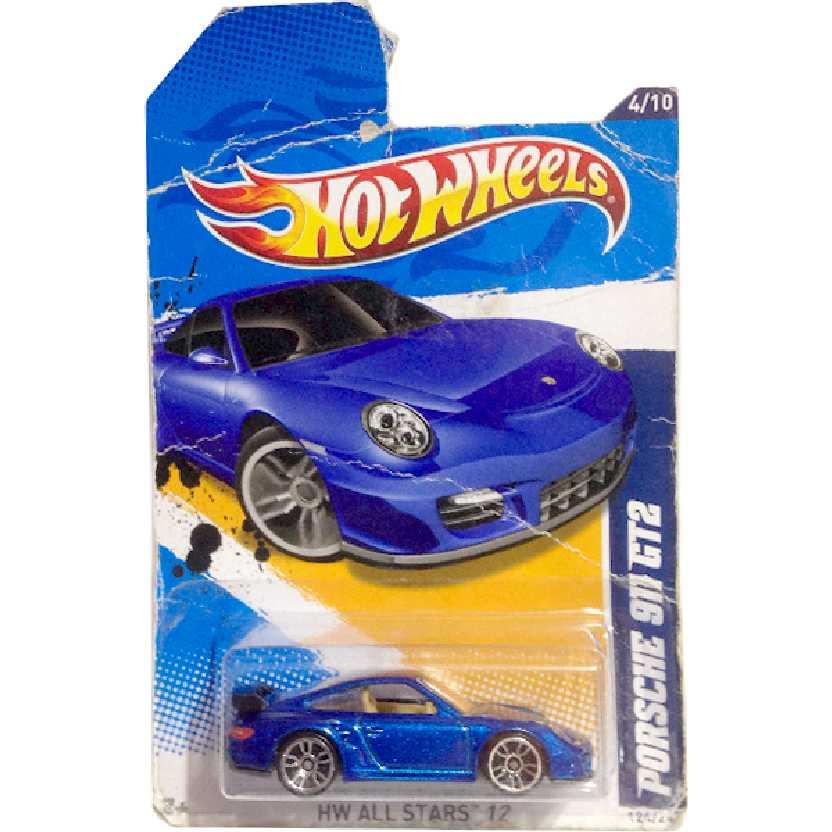 Coleção 2012 Hot Wheels Porsche 911 GT2 azul V5427 series 4/10 124/247 escala 1/64