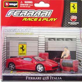 Coleção Bburago Ferrari Race and Play :: Ferrari 458 Italia Diorama escala 1/43