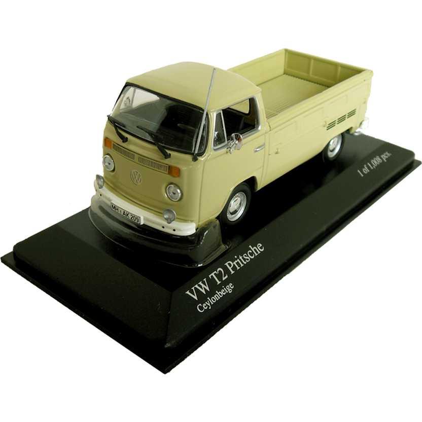 Coleção carros inesquecíveis do Brasil - VW T2 Kombi Pickup bege (1972) Minichamps escala 1/43