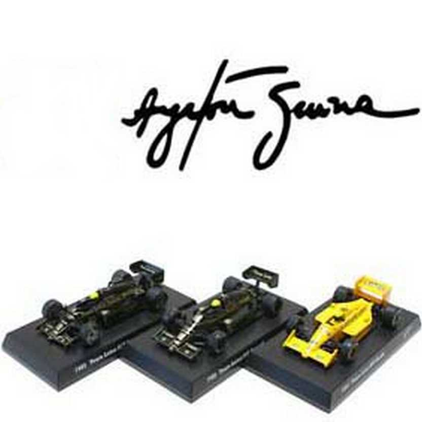 Coleção de 3 Lotus F1 do Ayrton Senna Collection Kyosho escala 1/64