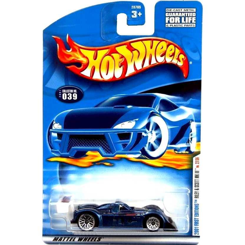 Coleção Hot Wheels 2001 First Editions #39 Riley & Scott MK III escala 1/64 28765