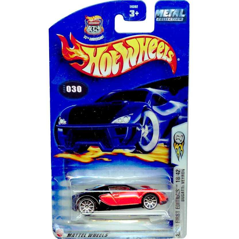 Coleção Hot Wheels 2003 Bugatti Veyron vermelho/preto series 030 18/42 56392 escala 1/64
