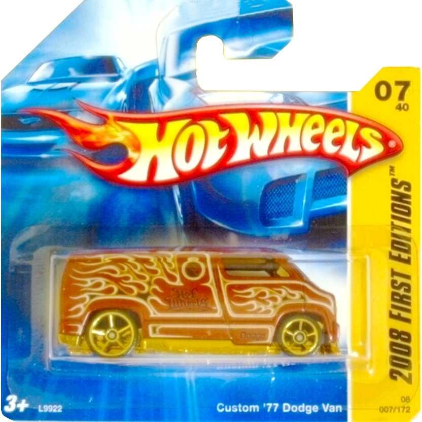 Coleção Hot Wheels 2008 Custom 77 Dodge Van  L9922 series 07/40 007/172 escala 1/64