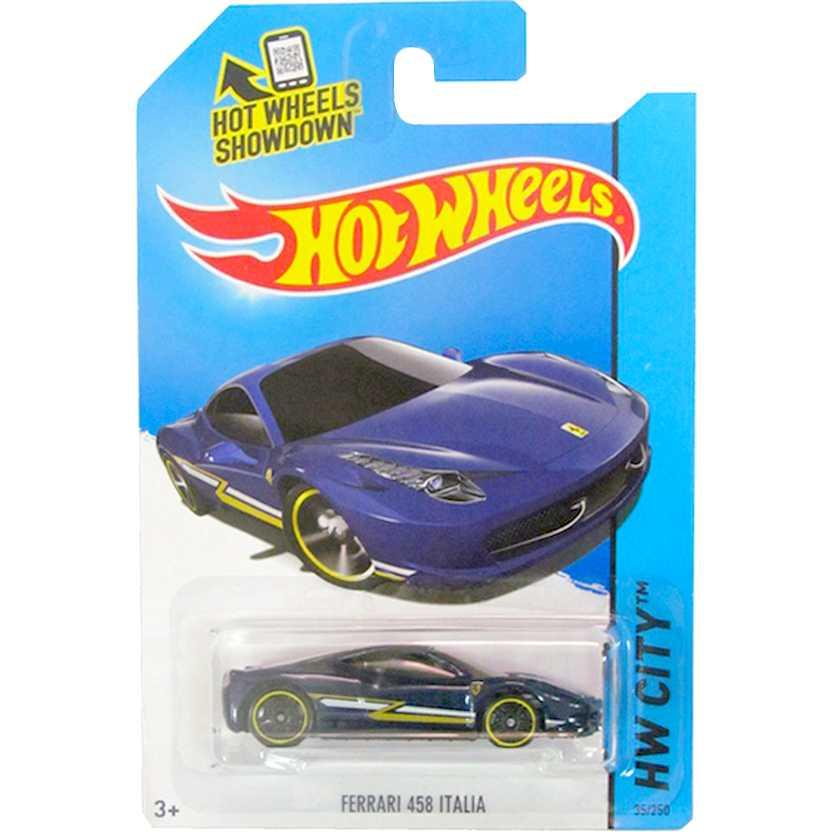 Coleção Hot Wheels 2014 Ferrari 458 Italia azul BFF72 series 35/250 escala 1/64