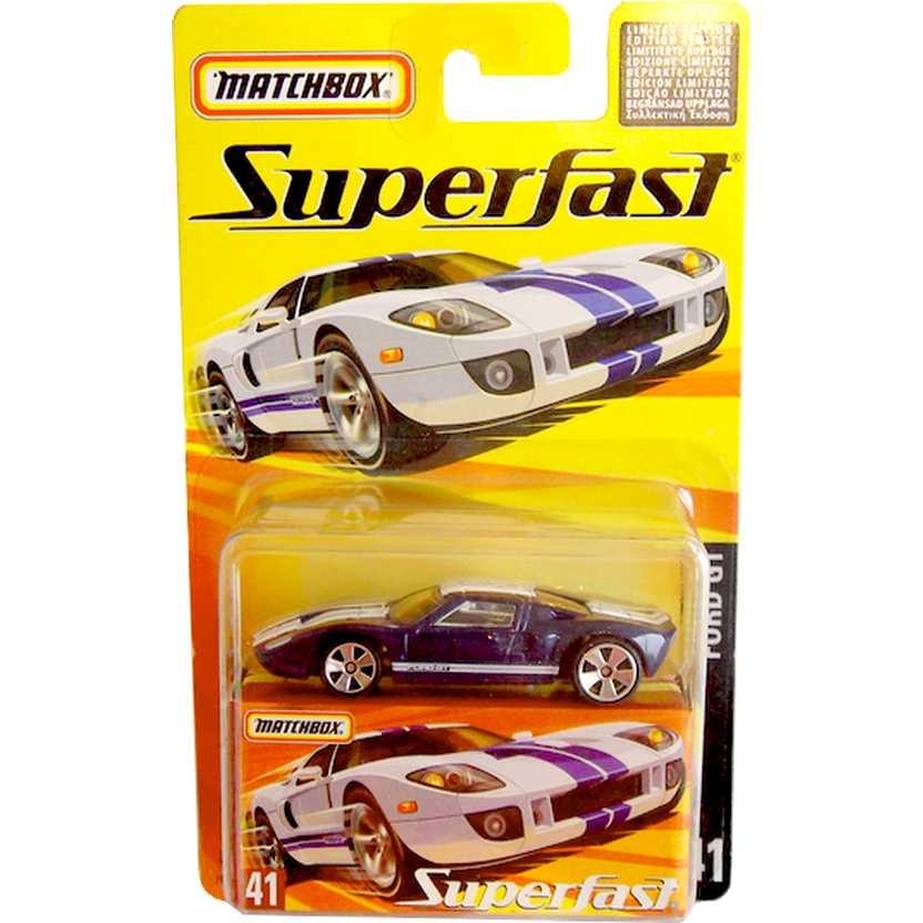Coleção Matchbox 2005 Superfast Ford GT azul metálico #41 H7785 escala 1/64