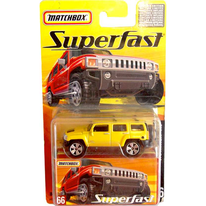 Coleção Matchbox 2005 Superfast Hummer H3 amarelo #66 H7795 escala 1/64