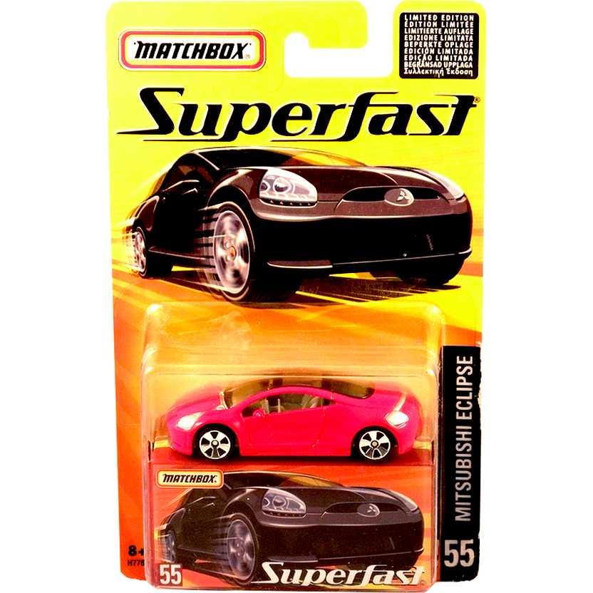 Coleção Matchbox 2005 Superfast Mitsubishi Eclipse vermelho #55 H7787 escala 1/64
