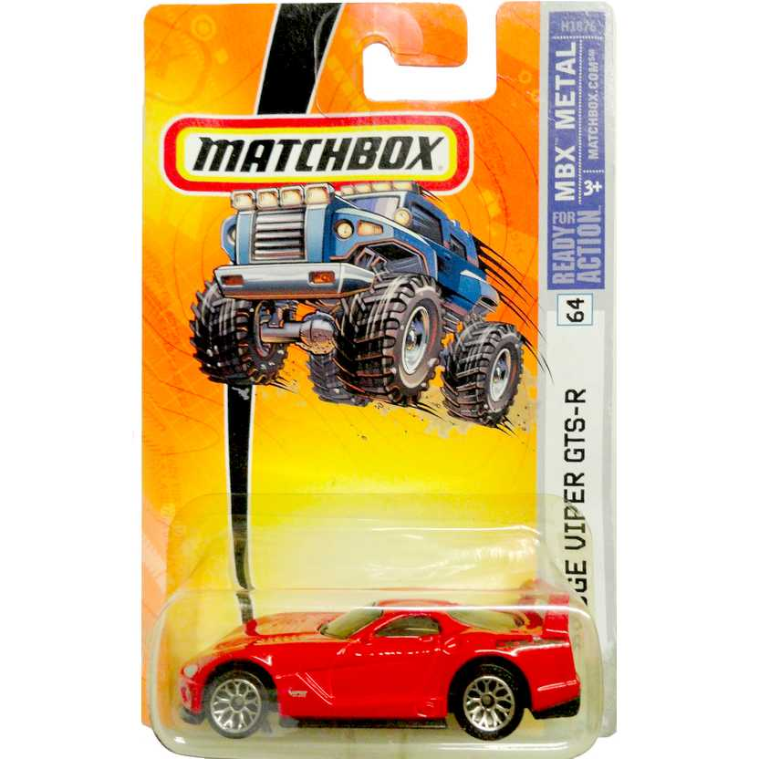 Coleção Matchbox 2006 Dodge Viper GTS-R vermelho número 64 H1876 escala 1/64