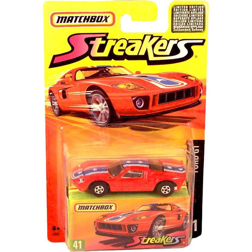 Coleção Matchbox 2006 Streakers Ford GT #41 J6590 escala 1/64