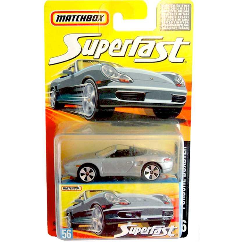 Coleção Matchbox 2006 Superfast Porsche Boxster prata #56 J6605 escala 1/64