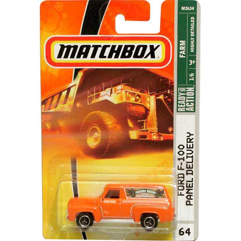 Coleção Matchbox 2007 Ford F-100 Panel Delivery laranja M2634 series 64 escala 1/64