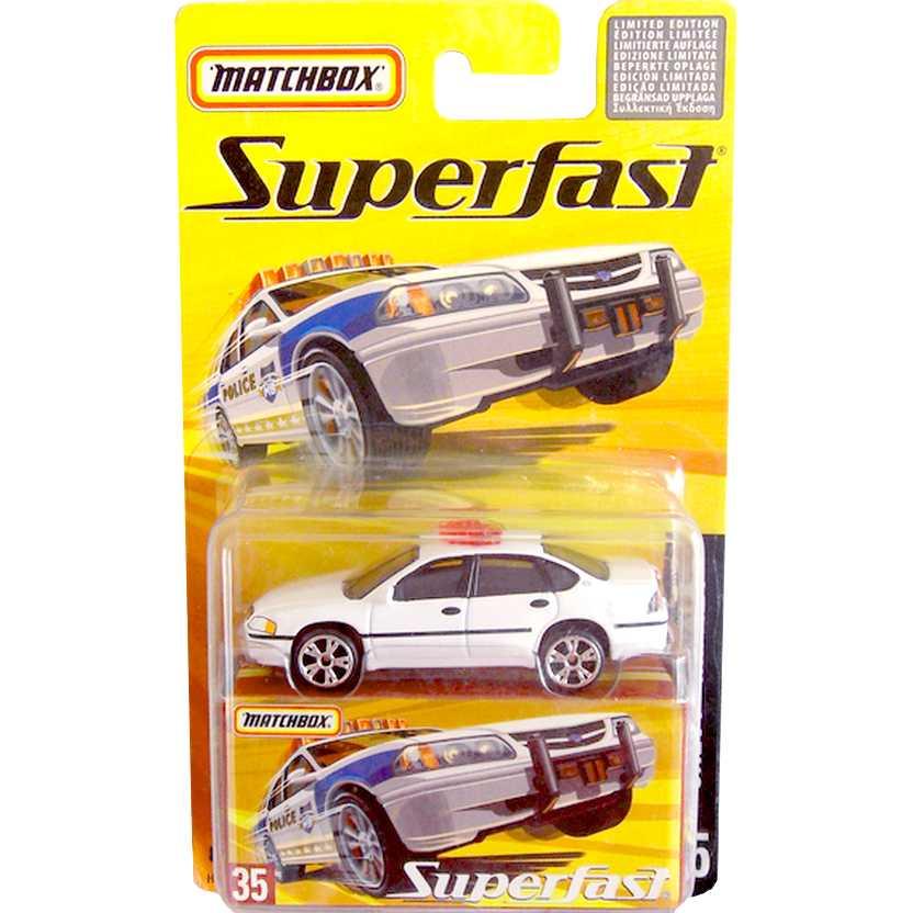Coleção Matchbox Superfast 2005 #35 Chevy Impala Police Car H7750 escala 1/64