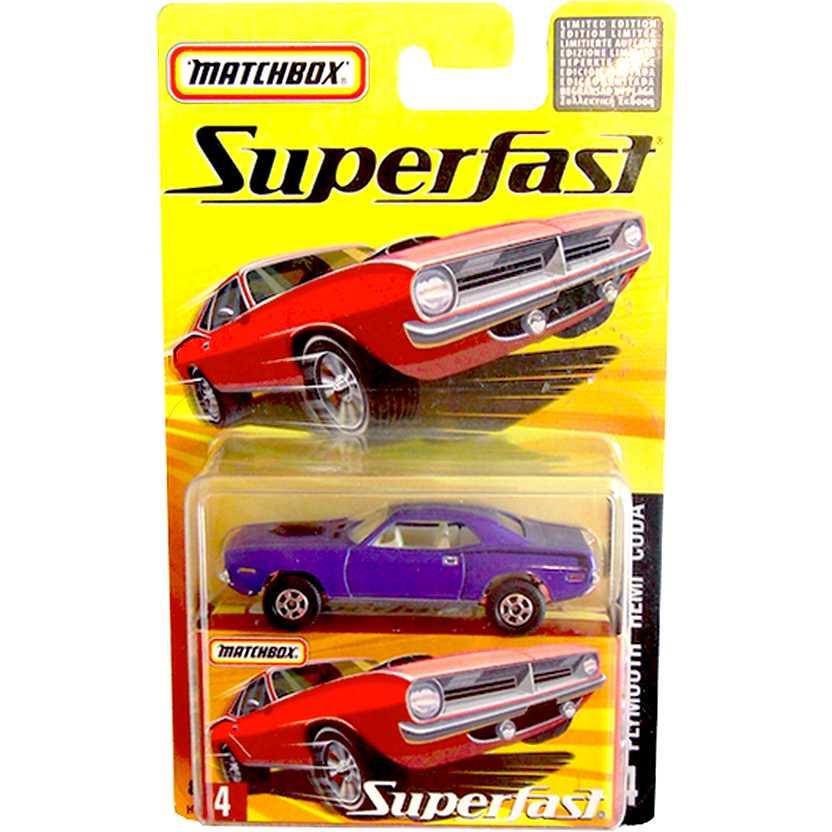 Coleção Matchbox Superfast 2005 Plymouth Hemi Cuda #4 H7778 escala 1/64