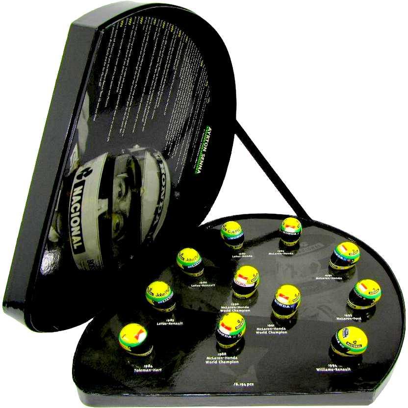 Conjunto com 11 Capacetes do Ayrton Senna (de 1984 à 1994) marca Minichamps escala 1/8