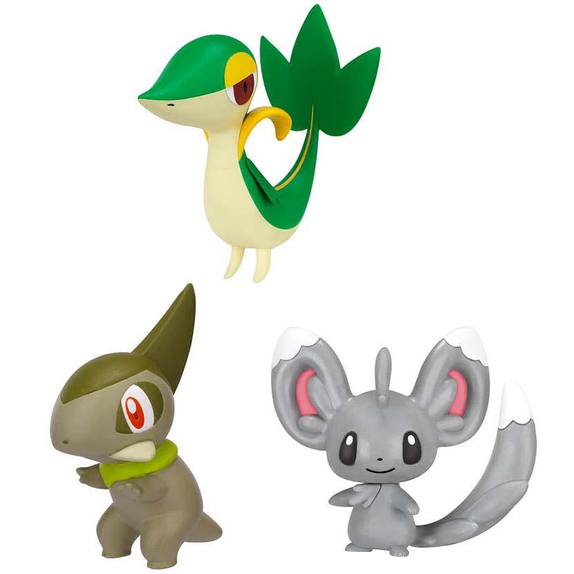 conjunto com 3 Pokemons série Black & White : Minccino, Snivy e Axew