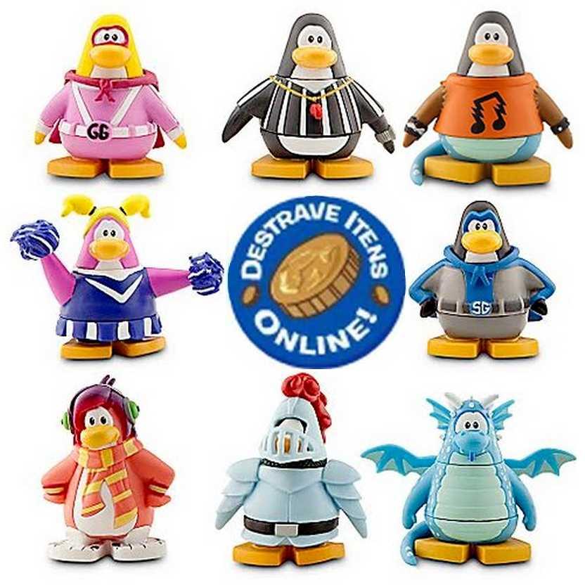 Conjunto de 8 Bonecos Club Penguin + 2 códigos para destravar itens