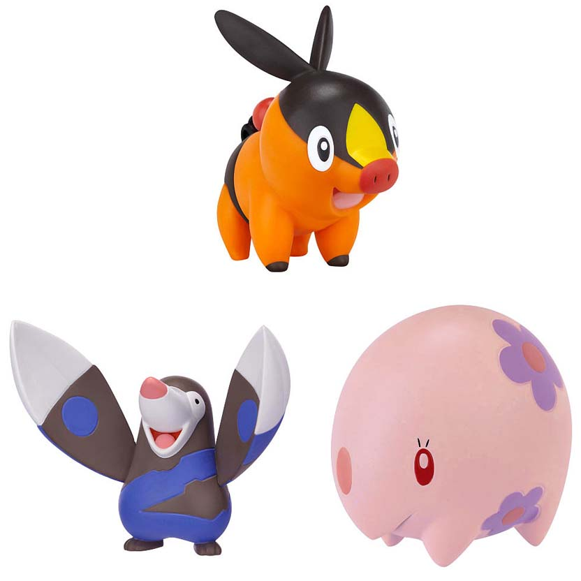 conjunto Pokemon série Black & White : Tepig, Drilbur e Munna