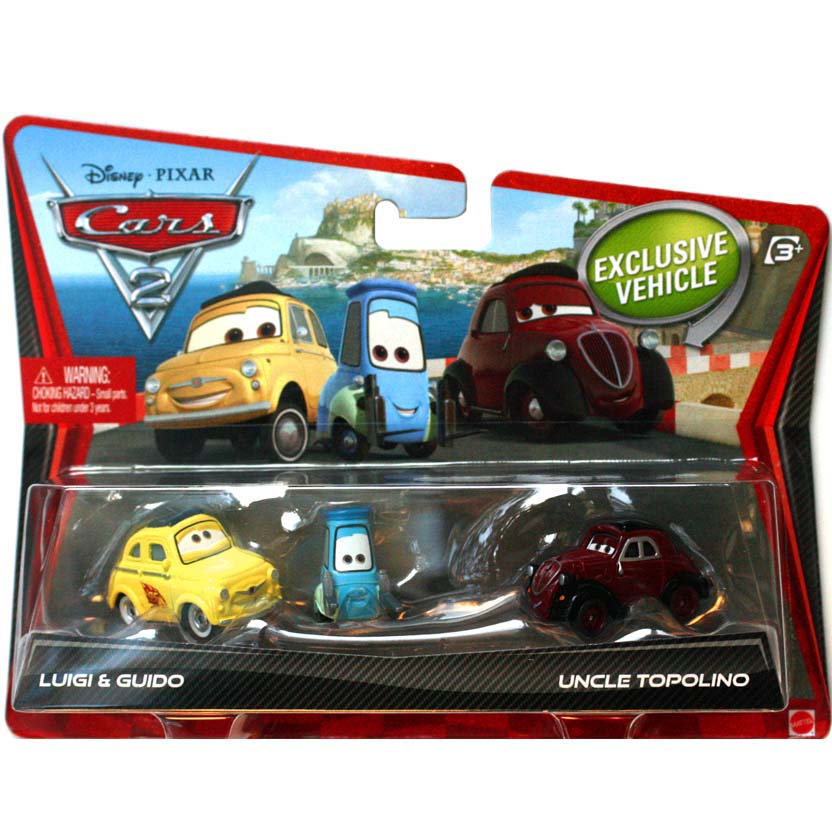 Disney pixar 2013 cars 2 luigi guido e uncle topolino mattel escala 1