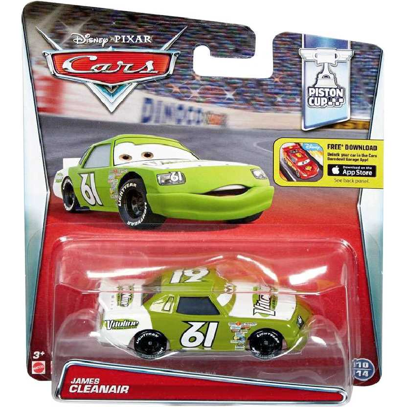 Disney Pixar Carros James Cleanair #61 Cars escala 1/55 Piston Cup 10/14