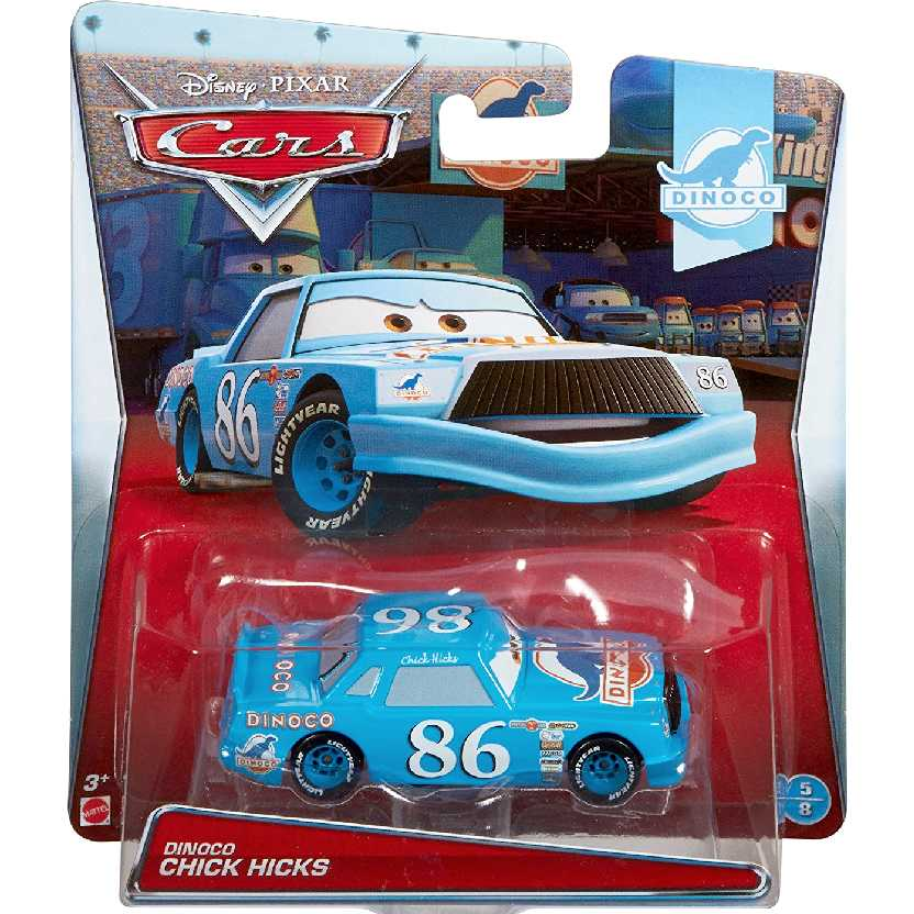 Disney Pixar Cars Dinoco Chick Hicks azul 5/8 Carros da Mattel escala 1/55