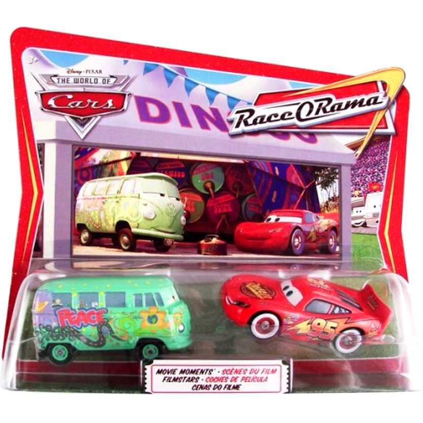 Disney Pixar The World of Cars (Carros) Fillmore e Whitewalls Lightning McQueen escala 1/55
