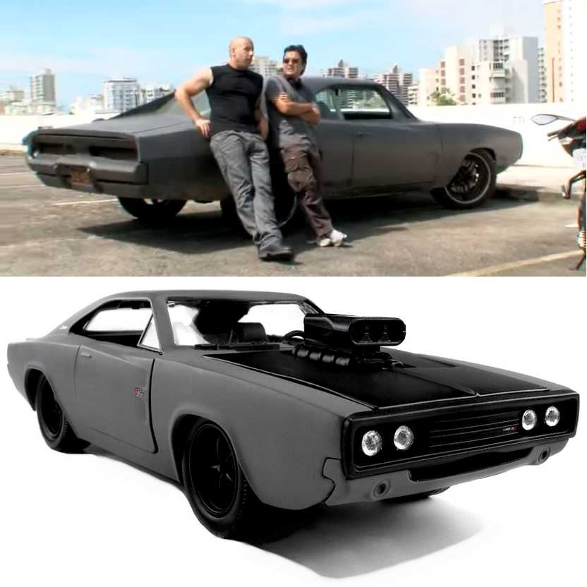Dodge Charger R/T cinza (1970) similar do filme Fast Five 5 marca Jada Toys escala 1/24