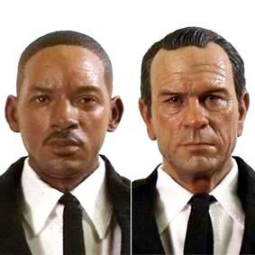 Enterbay Man in Black MIB 3 Agent J (Will Smith), K (Tommy Lee Jones) e cão Pug Frank