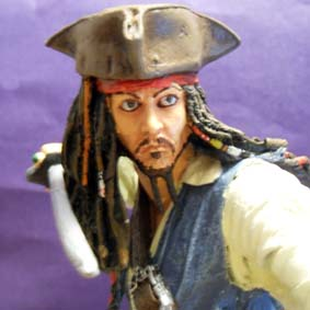 Estatueta em resina Jack Sparrow Pirates of the Caribbean Johnny Deep