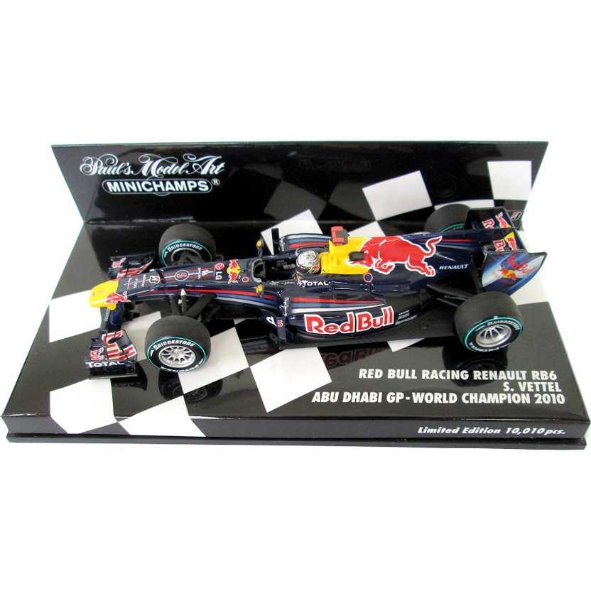 Fórmula 1 Minichamps Campeão 2010 Red Bull Racing Renault RB6 Sebastian Vettel escala 1/43