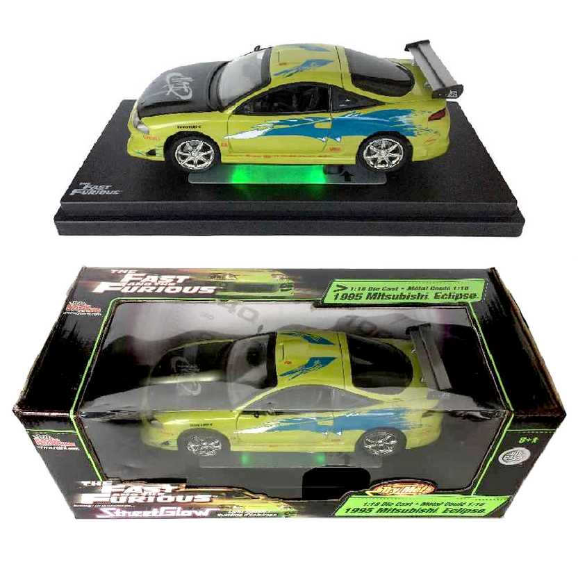 Fast and Furious 1995 Mitsubishi Eclipse Velozes e Furiosos ERTL StreetGlow escala 1/18