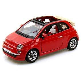 Fiat 500C Cabrio (convertible / conversível ) vermelho (2009) marca Bburago escala 1/24