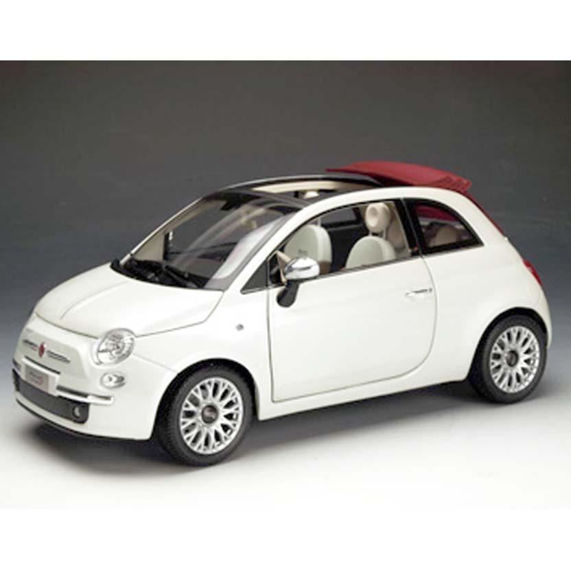Fiat 500C ( conversível ) branco Gioioso perolizado : Fiat Cinquecento Cabrio Norev escala 1/18