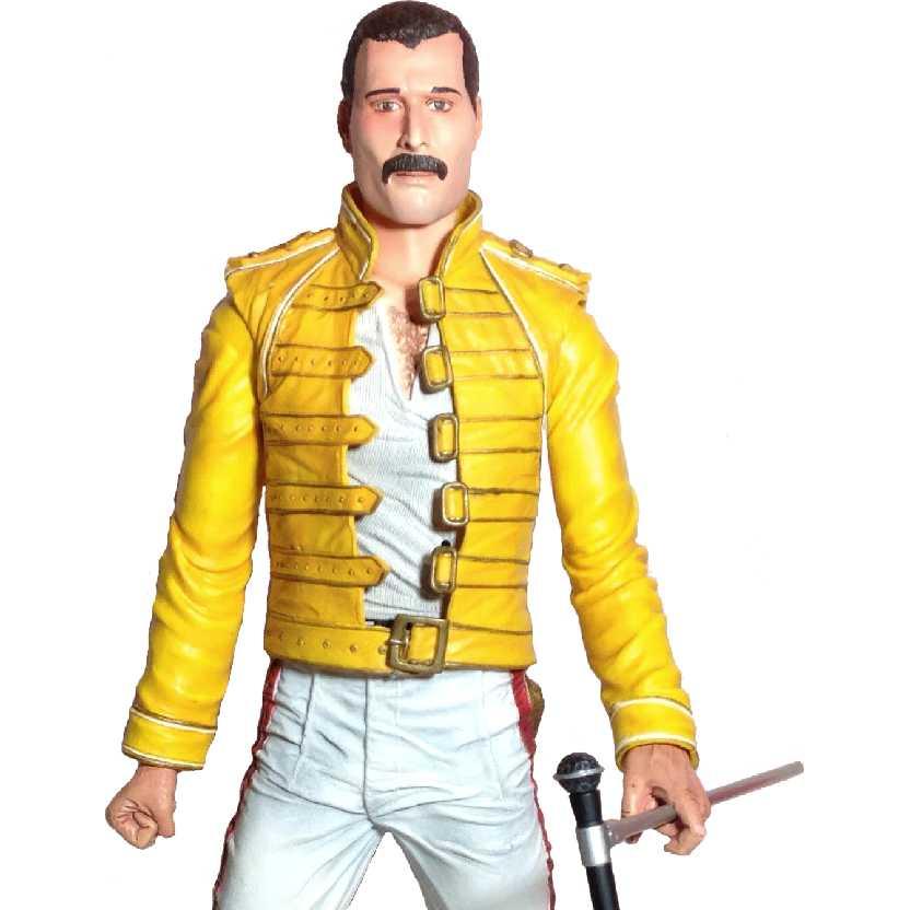 Freddie Mercury Queen (c/ som) marca Neca Toys action figures (aberto)