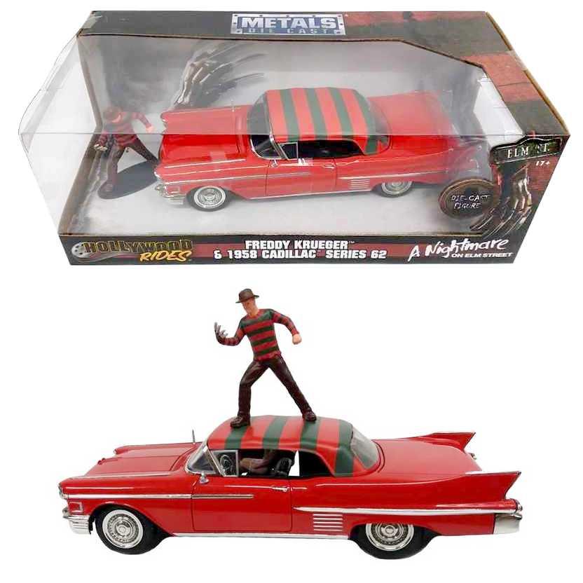 Freddy Krueger Cadillac series 62 (1958) Hollywood Rides Jada escala 1/24 A Hora do Pesadelo