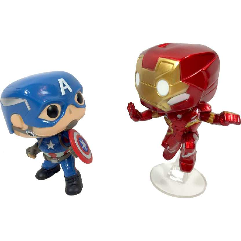 Funko Pop! Marvel raro Collector Corps Civil War Exclusive: Captain America and Iron Man