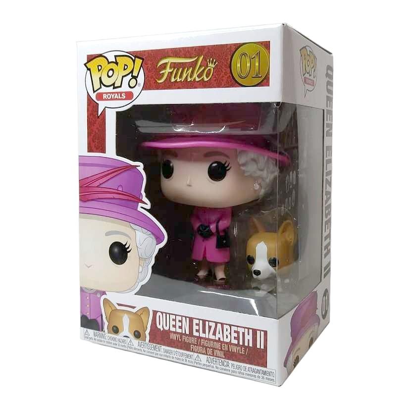 Funko Pop! Royals Queen Elizabeth II rosa + cão Welsh Corgi Pembroke figure número 01