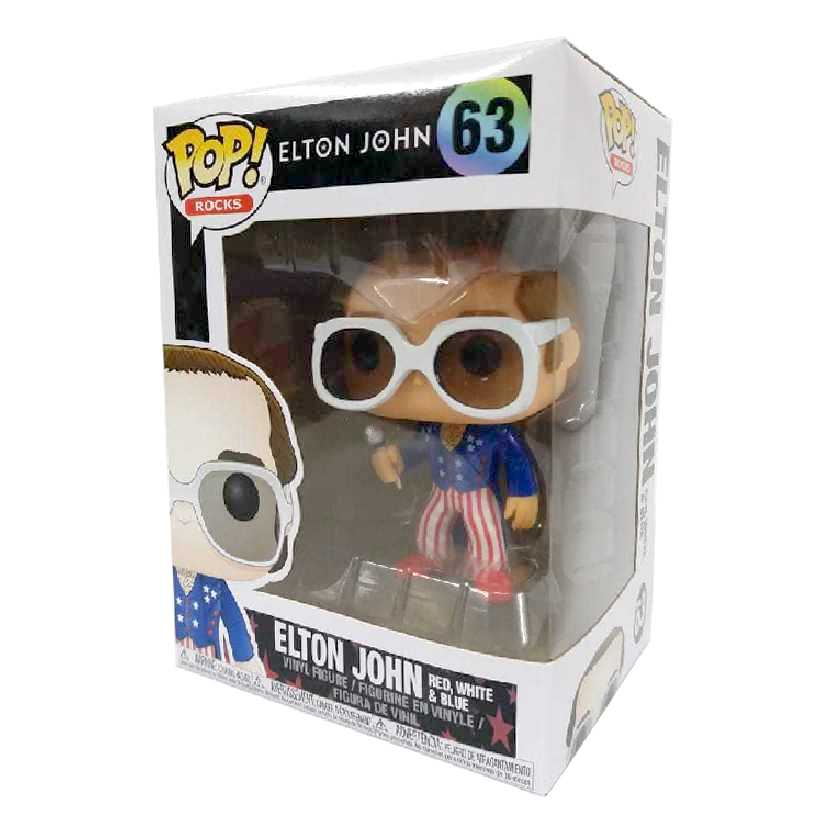 Funko Pop Rocks Elton John Red White and Blue vinyl figure número 63 ORIGINAL
