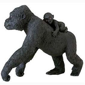 Gorila fêmea com filhote pintado a mão