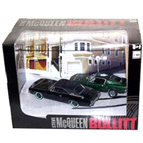 Green Machine Bullitt Greenlight 1968 Diorama Mustang 390 e Dodge Charger 440