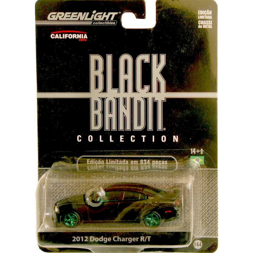 Green Machine Greenlight Collectibles Black Bandit R7 - 2012 Dodge Charger R/T 27690X