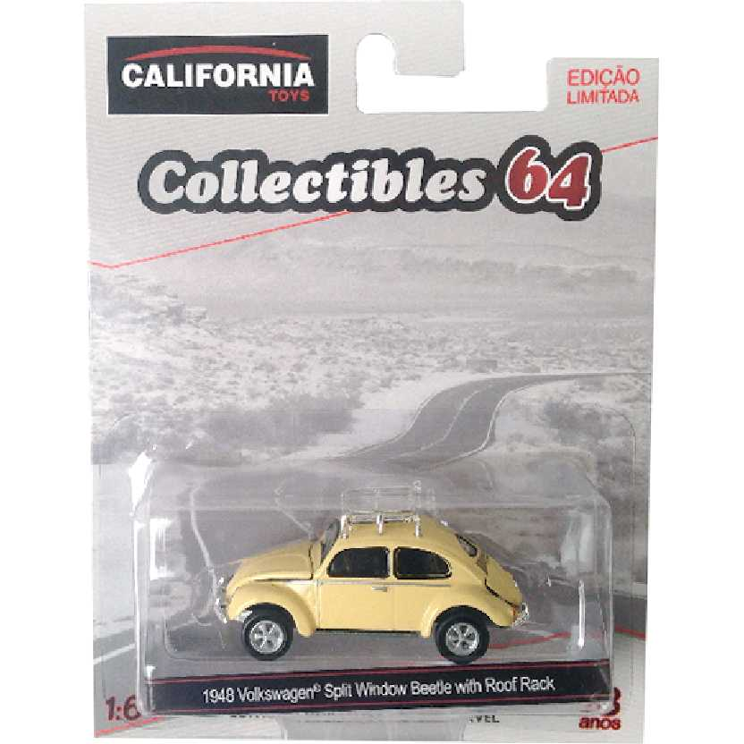Greenlight 1948 VW Fusca Volkswagen Split Window Beetle with Roof Rack escala 1/64