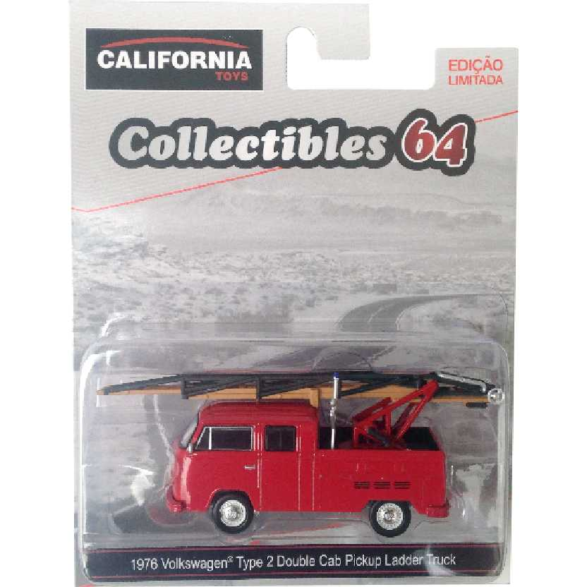 Greenlight 1976 VW Kombi Volkswagen Type 2 Double Cab Pickup Ladder Truck escala 1/64