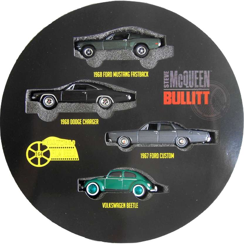 Greenlight Green Machine Bullitt (Galaxie 67, Mustang 68, Charger 68 e Fusca) R3 59030 RARIDADE