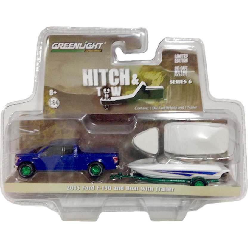 Greenlight Green Machine Hitch & Tow 2015 Ford F-150 and Boat with Trailer escala 1/64