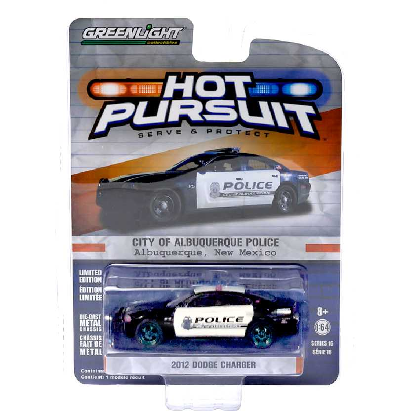 Greenlight Green Machine Hot Pursuit 16 2012 Dodge Charger Albuquerque Police escala 1/64
