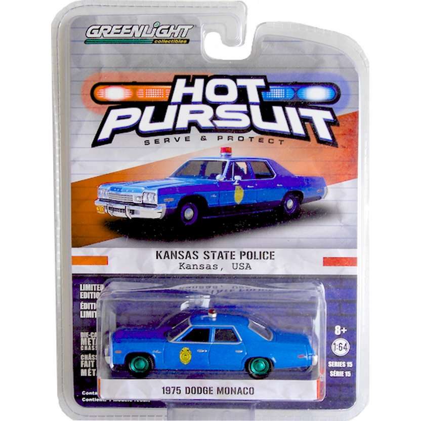 Greenlight Green Machine Hot Pursuit 1975 Dodge Monaco Kansas R15 42720 escala 1/64