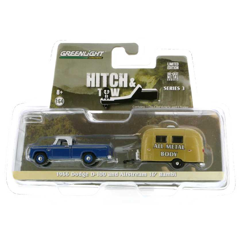 Greenlight Hitch and Tow series 3 1966 Dodge D-100 + Airstream Bambi escala 1/64 32030